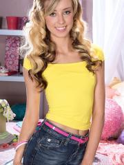 Blonde teen Haley Reed strips for you in her bedroom