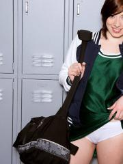Hot teen Trillium strips for you in the locker room