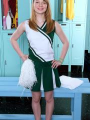 Hot cheerleader Maci More strips for you in the locker-room