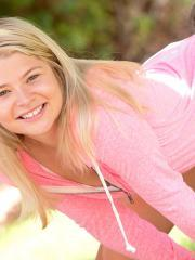 Blonde teen Mindy strips for you outside
