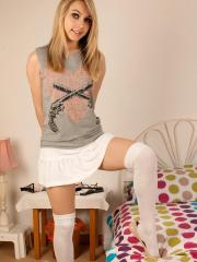 Blonde teen Chloe Toy strips for you in bed