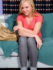 Blonde teen Tracey Sweet gets naked for you on the couch
