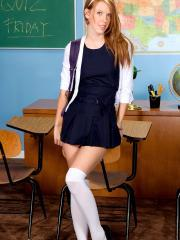 Redhead schoolgirl Pepper Kester strips in the classroom for you