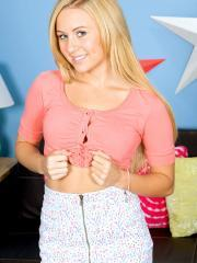 """Blonde teen Mae Myers strips for you in """"Dirty Dimples"""""""
