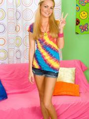 """Blonde teen Daisy Summers strips for you in """"Horny Hippie"""""""