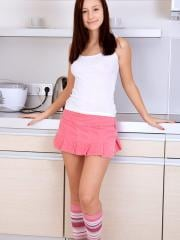 Teen hottie Vicky strips down to her pink socks in the kitchen