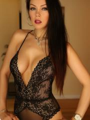 Stunning babe Erika G teases with her big perfect boobs in her sexy lingerie