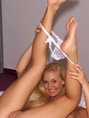 Blonde teen Tori finds many ways to pleasure her pussy