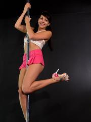 Pictures of Andi Land working the pole like a pro