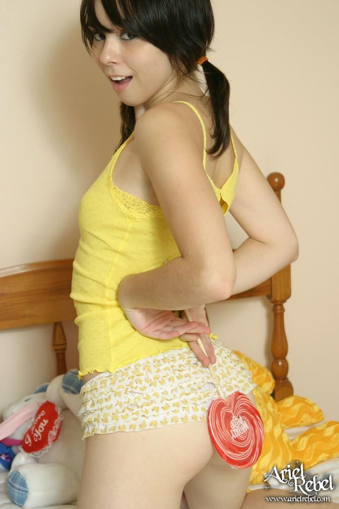 Pictures of Ariel Rebel teasing in pigtails - Coed Cherry
