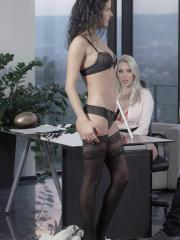 Hot girls Victoria Summers and Leanna Sweet have a threesome in the office