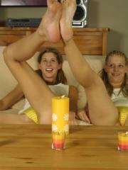 Leah and Lisa strip naked and eat pussy while showing their bare feet