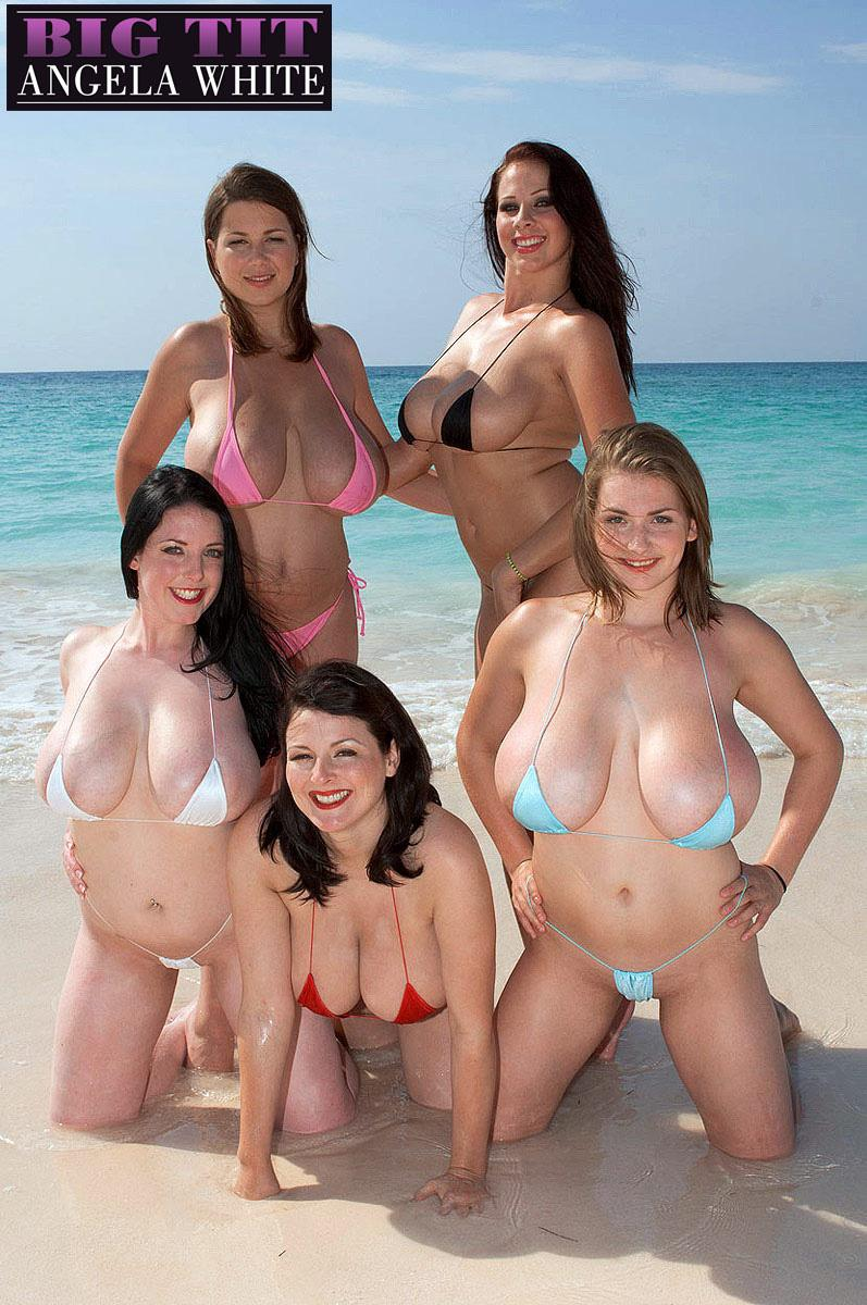 Angela White Porn Lesbian In The Beach angela white gets together with her busty girlfriends for