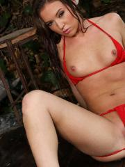 Maddy O'Reilly soaking wet red sheer bikini in outdoor shower