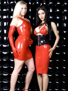Britney Lace and her firend get naughty in red latex