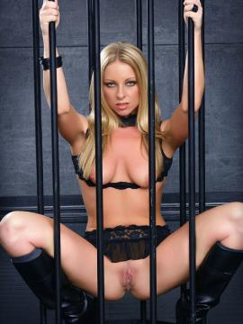 blonde britney-lace cage pussy boots