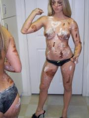 Pictures of Brooke Marks getting messy with her friend