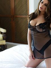 Charley S strips for you in her black sheer lingerie