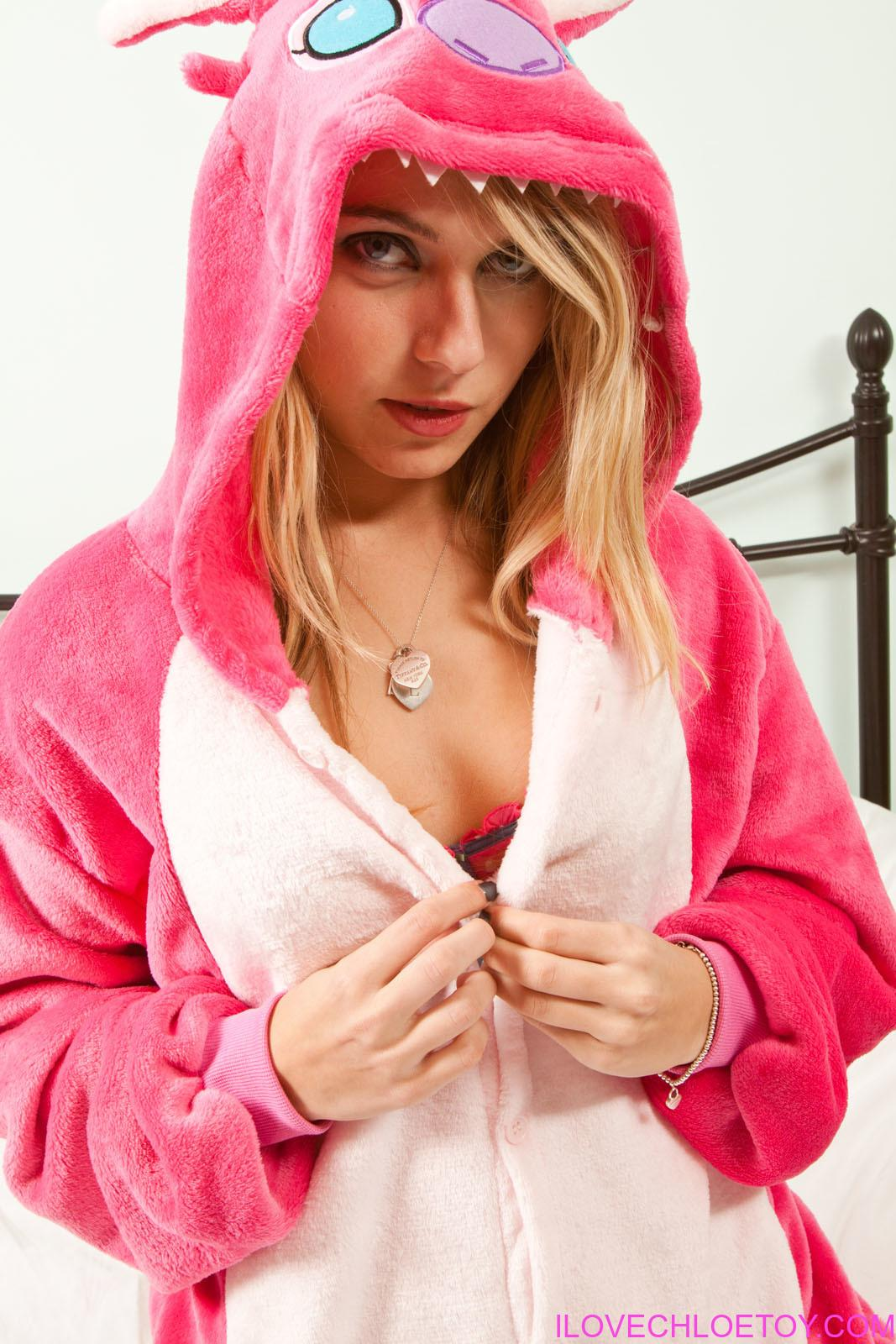 Hot blonde chick Chloe Toy removes her onesie after going for a walk  1829071