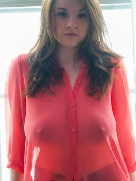 Beautifl girl Emily Born teases in her sheer red shirt