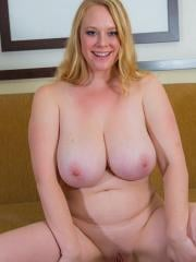 Busty blonde hottie cameron strips naked for you