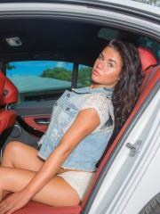 Brunette coed Britney Knox strips in the back seat of her car