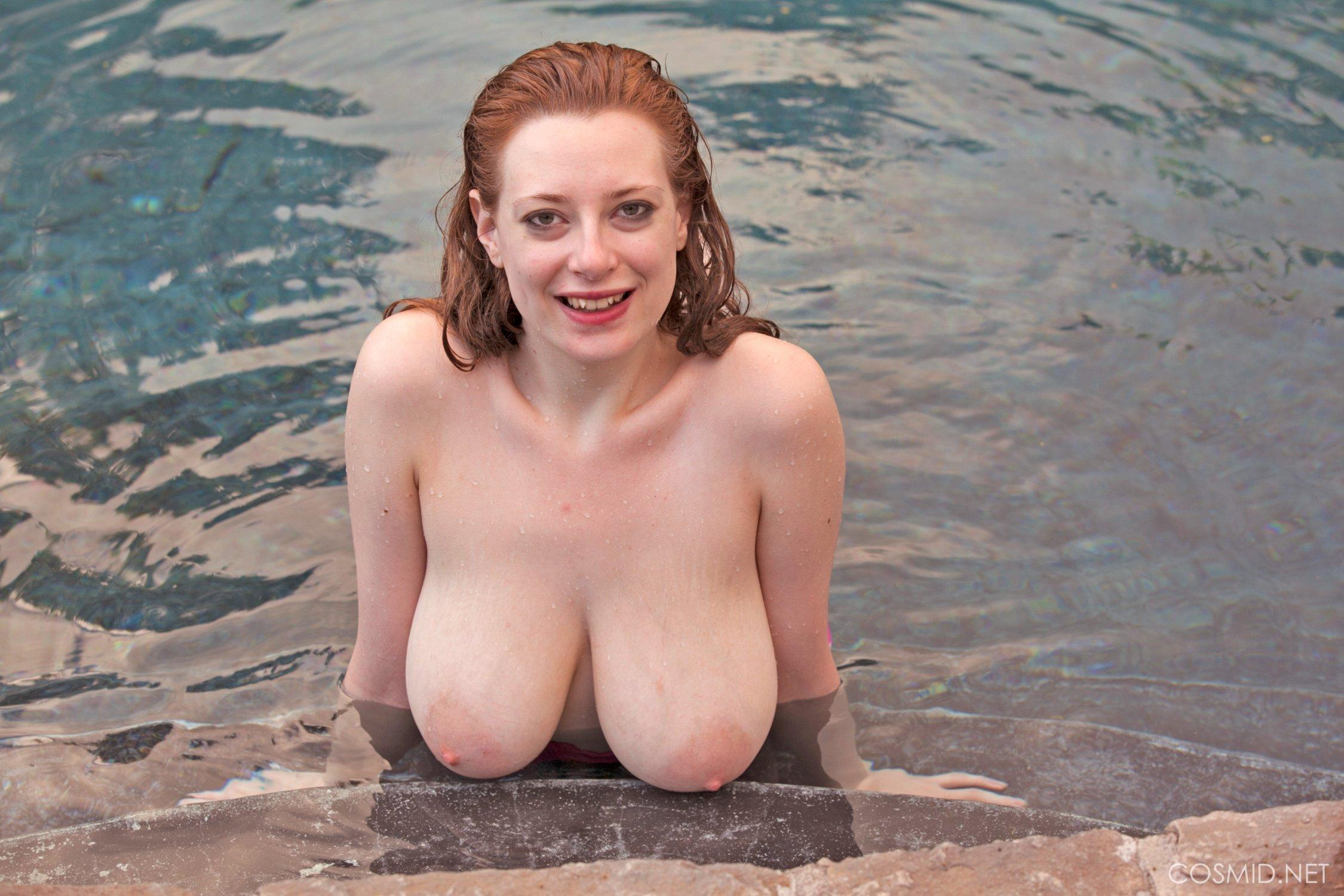 Redhead skinny dipping