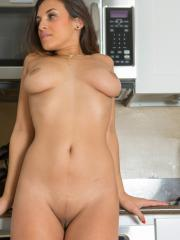 Brunette beauty Natalia Maskovich strips for you in the kitchen