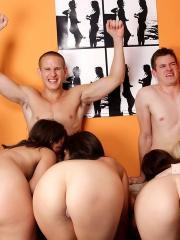 Hot college girls get fucked hard in the dorm room