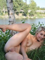 Blonde babe Meggie Marika gives you her hot pussy outside