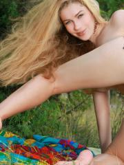"""Blonde teen Genevieve Gandi displays her gorgeous body outside in """"Campo"""""""