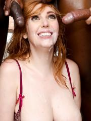 Busty redhead Lauren Phillips gets gang-banged