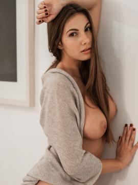 brunette connie-carter topless painted-nails
