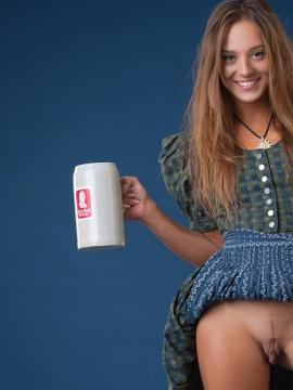 Pictures of Dominika giving the best promo for beer ever