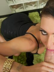 Jessica Jaymes gives a wild pov blowjob and takes a facial