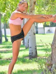 Hot teen coed Mary gets naughty at the local park