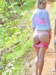 Nicole and Veronica are two horny nude hikers