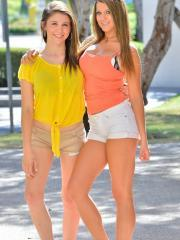 Stunning teens Kelsey and Hazel get super kinky in public