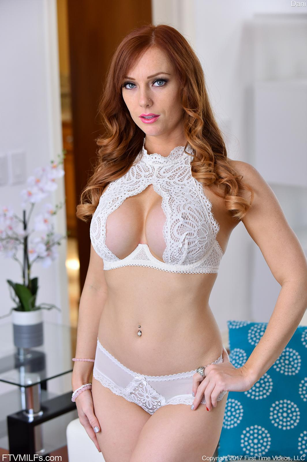 Redhead Babe Dani Jensen Strips For You In Her Lacy Lingerie
