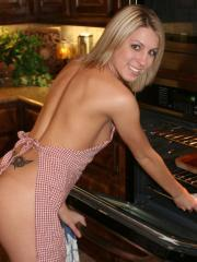 Cute blonde girl next door Becky is in the kitchen teasing with her cookies as she gets naked