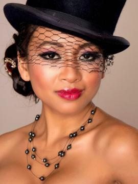 kina-kai brunette hat red-lipstick