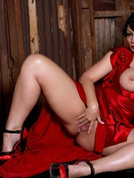 Aria Giovanni naughty in red dress