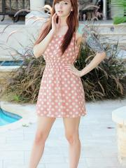 Ivy Snow slips off her pink dress and masturbates by the pool