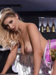 Blonde babe Jess Davies exposes her beautiful breasts for you