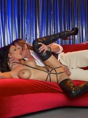 Jessica Jaymes and Nikki Benz put on a strip show for a lucky guy and then fuck him