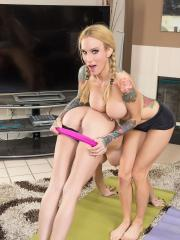 Horny girls Jessica Jaymes and Sarah Jessie try to do yoga but end up fucking instead