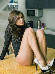 "Litlte Caprice fondles herself on the table in ""Clitoral Orgasm"""