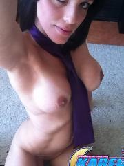 Karen Dreams lays on the floor and snaps some sexy shots of her boobies
