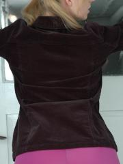 Blonde teen Kristin shows you what's under her black jacket