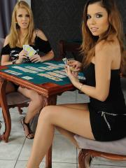 Horny girls Peaches and Katalin play a sexy game of cards